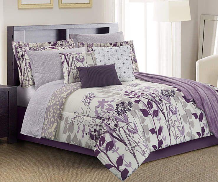 janet floral purple gray u0026 cream 12piece queen comforter set at big lots - Purple Comforters