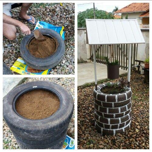 Poço de suculentas, feito com pneus velhos.