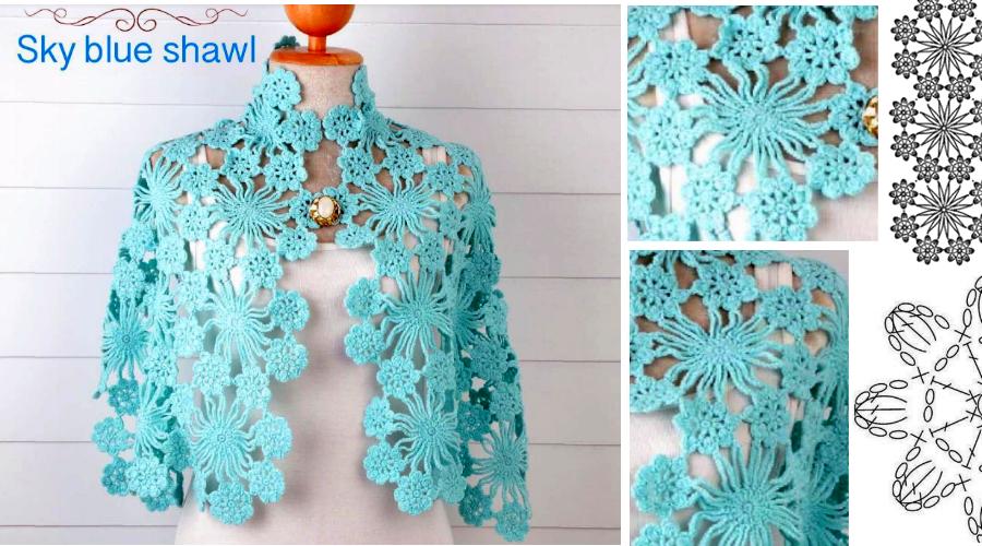 Chal Azul Cielo en Crochet - con patrones | Costura | Pinterest ...