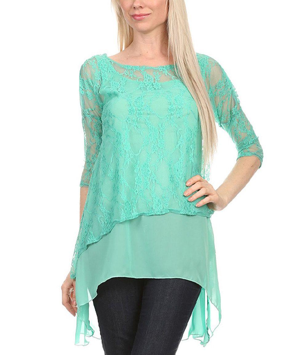 Karen T. Design Mint Lace Hi-Low Top - Plus Too by Karen T. Design #zulily #zulilyfinds