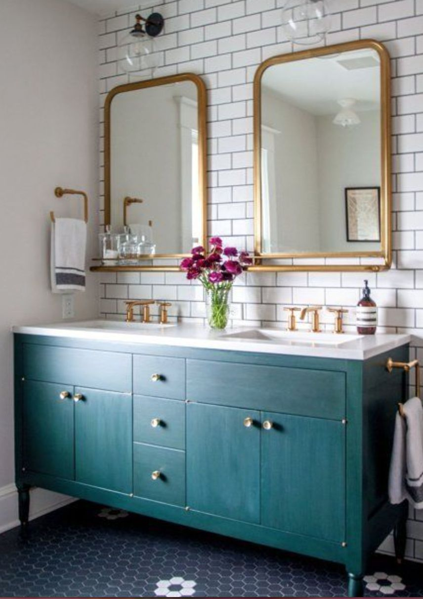 Double sink gold,teal&subway tiles | Ideas for the House | Pinterest ...
