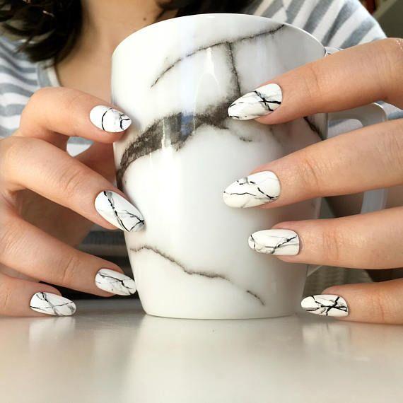 Reusable White Stone Marble Press On Nails Etsy Marble Acrylic Nails White Nail Designs Press On Nails