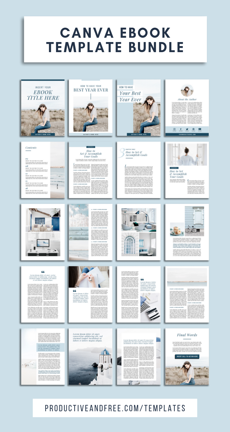Save time and energy using this ebook bundle of 40+ templates in Canva format | Canva Ebook Template | Ebook | Canva Template | Lead Magnet | Canva Lead Magnet Template | Pinterest | Instagram | Blog Opt In | Content Upgrade | Sidebar | #template | #ebooktemplate | #ebook #canva