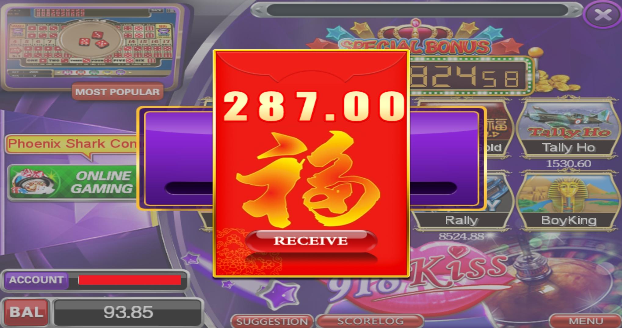 Tahniah Member Terkena Angpow yang BESAR dalam game 918Kiss , RM287.00 !!!