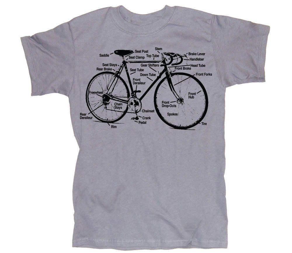 Retro Bike Diagram Bicycle Screen Printed Silver T Shirt In S M L Of Parts Xl Xxl 1800 Via Etsy
