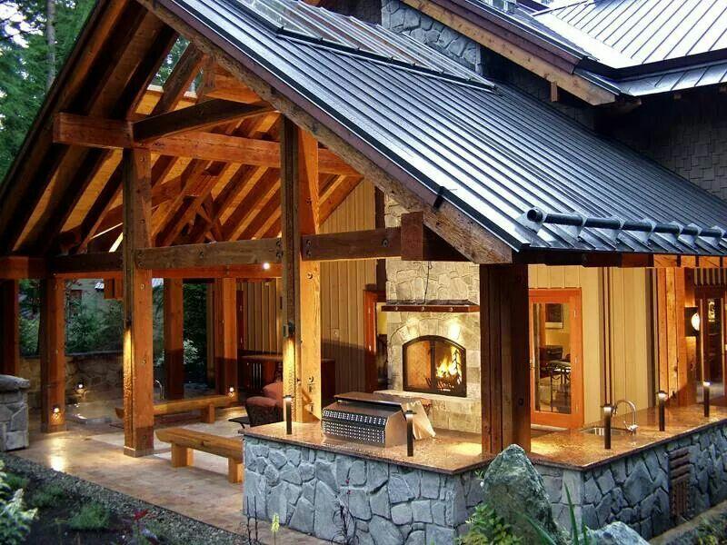 Beautiful Timber Frame Outdoor Living Area Home Decor