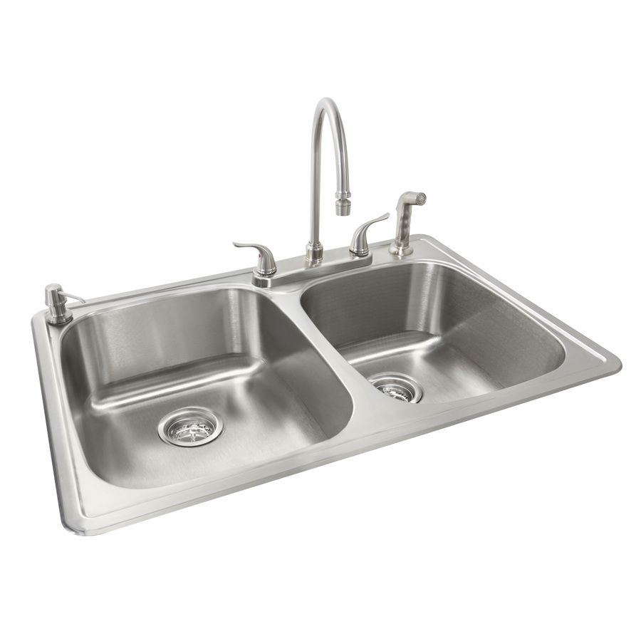 Shop American Standard 22-in x 33-in Silver Double-Basin Stainless ...