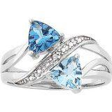 Sterling Silver Couples Trillion Birthstone Ring with Diamond Accent