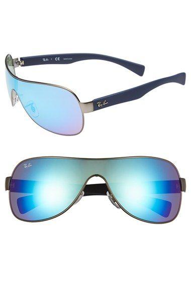 4fceddc191481 Women s Ray-Ban 62mm Mirror Shield Sunglasses - Gunmetal  Blue Mirror