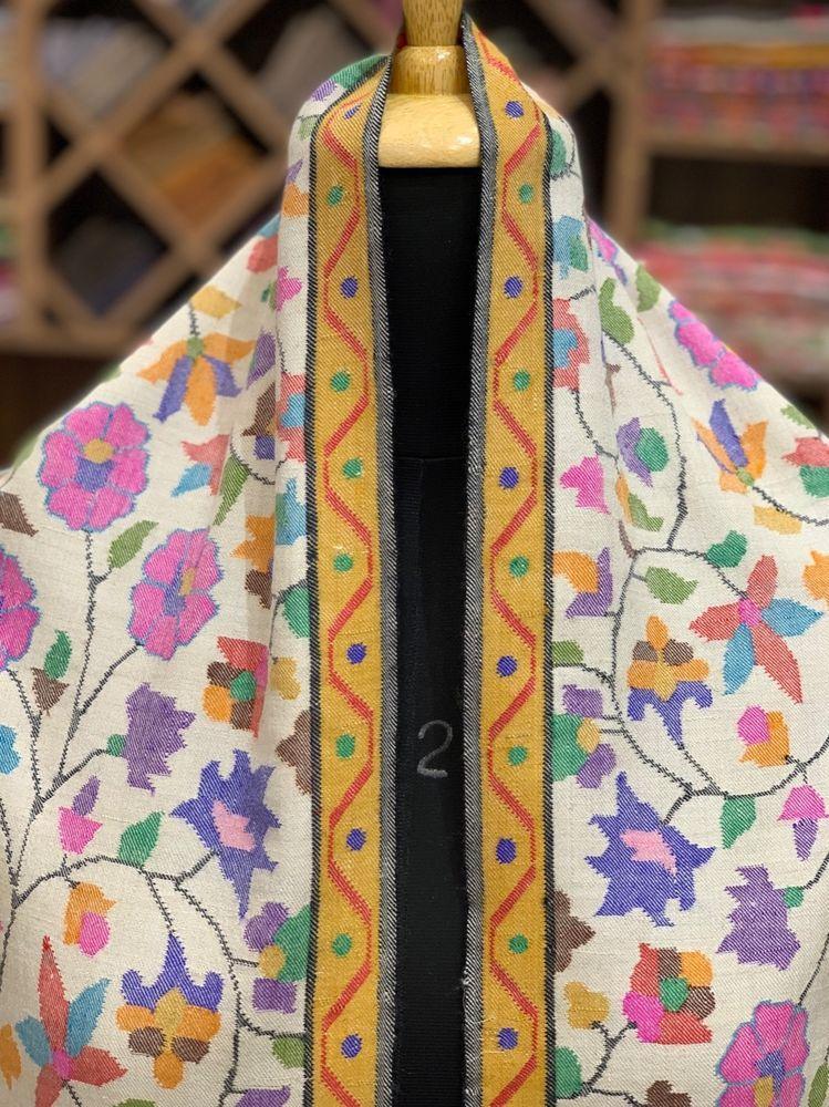 e2f10c0ebf Pure Pashmina Kani Shawl Floral Design White Kani Hand Woven Kashmir Boho  Shawls #AngadCreations #