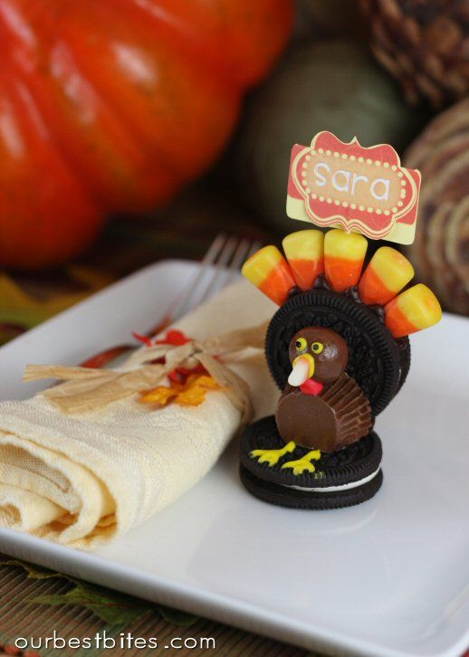 Thanksgiving Table Place Setting Ideas Part - 18: Edible Thanksgiving Table Markers / Using : Double Stuff Oreo Cookies,  Candy Corn, Whoppers