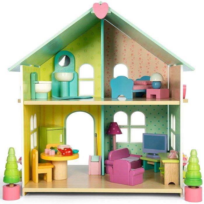 Casa de mu ecas de madera con muebles evergreen house le toy van casitas de mu ecas - Casa munecas eurekakids ...