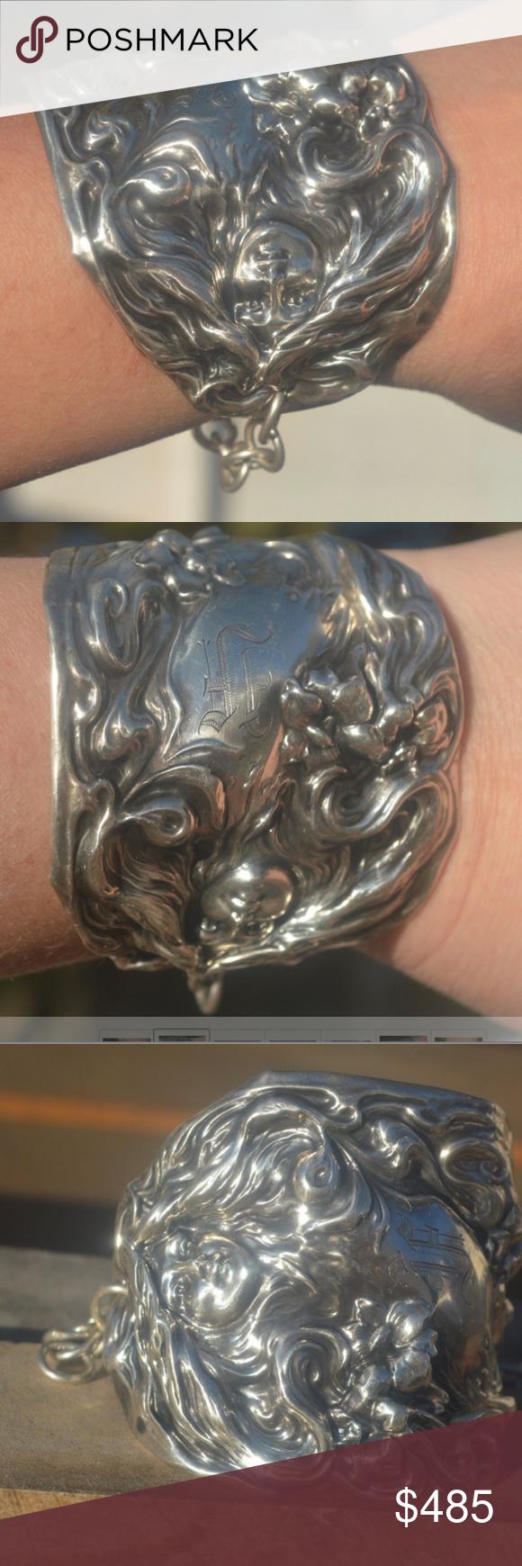 Art Nouveau Inspired California Poppy By Mason Larose: Art Nouveau Face Sterling Silver Cuff Bracelet 925 Thank