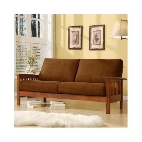 Sofa Wooden Frame Vintage Oak Cushion Microfiber Removable Couch