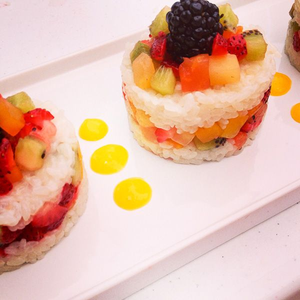 Winning Dessert from the #DoleCookoff Tropical-Berry Sticky Rice With Mango Coulis