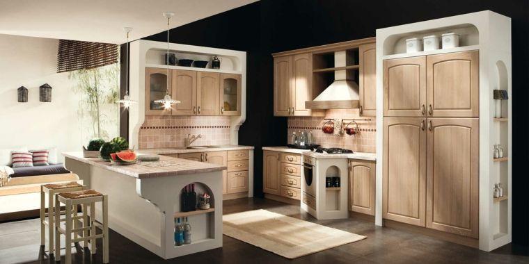 idea per cucine in muratura con isola, struttura bianche e ante in ...