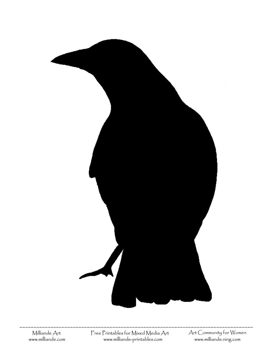 image about Bird Stencil Printable identified as Raven Silhouette Hen silhouettes free of charge hydraulic push