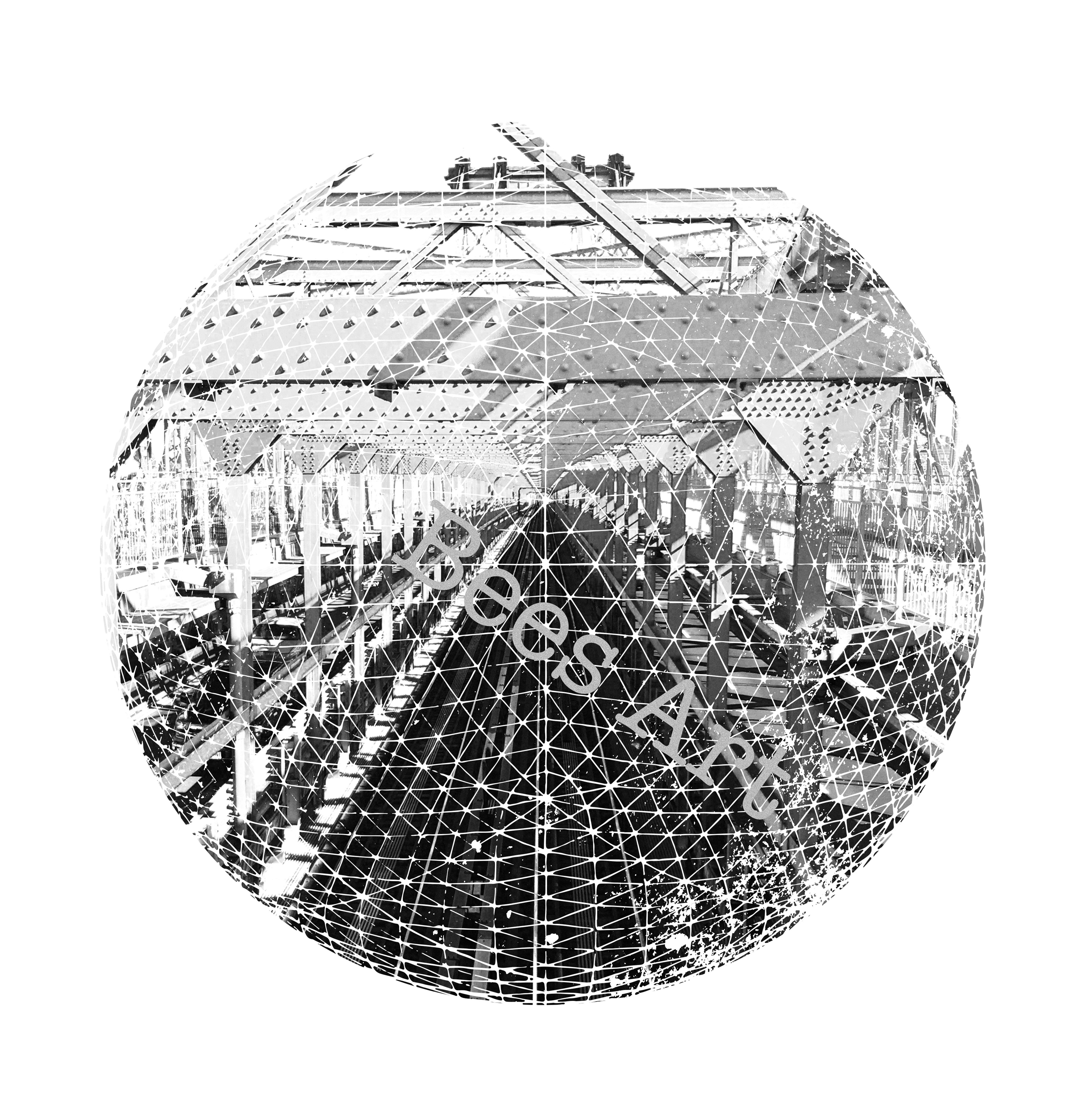 Train line art bridge nyc black white modernist wall decorball wall