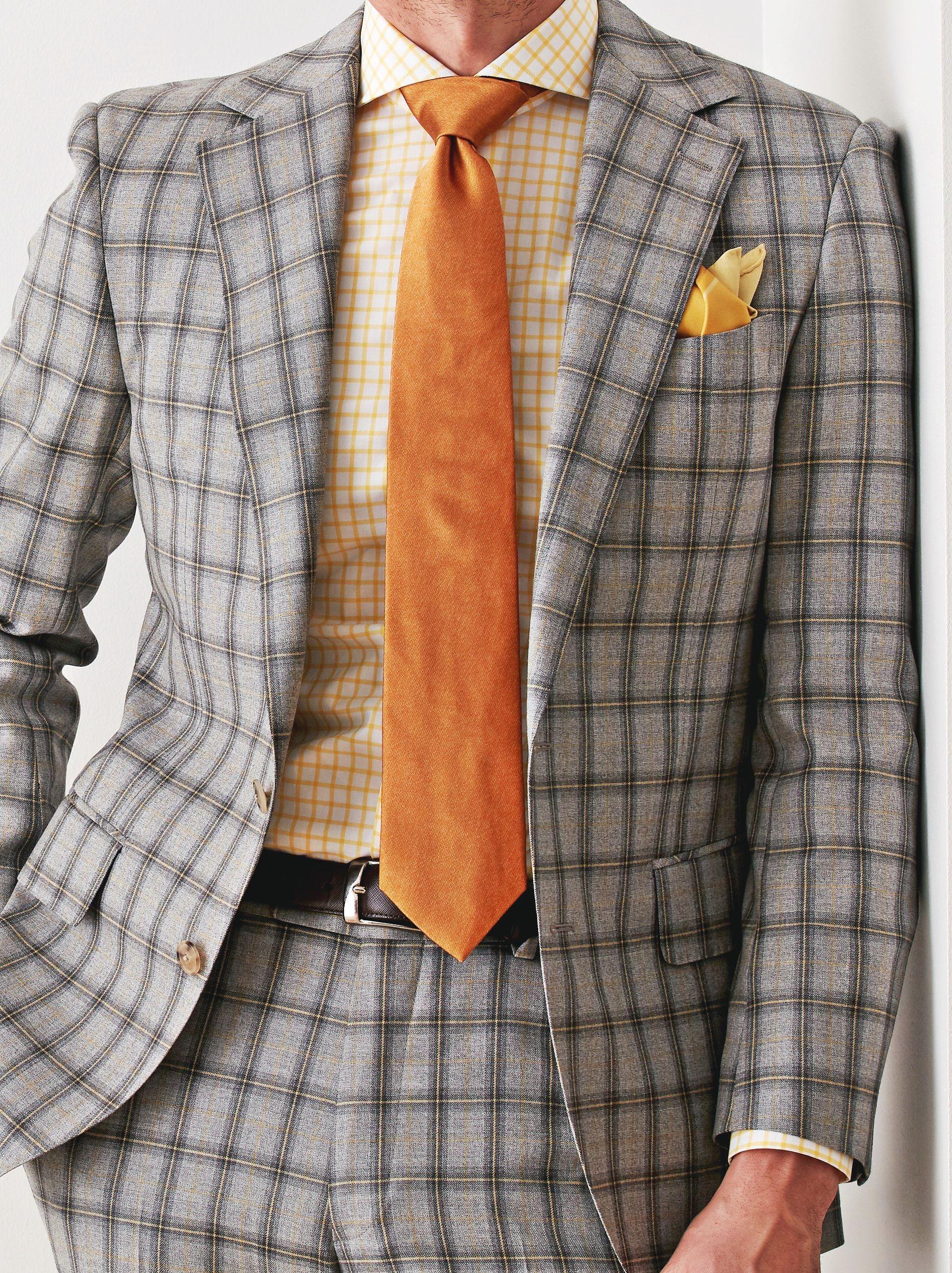 """カジュアルな""""グレーチェック柄""""のスーツ。スーツ生地:イートーマス #fashion #ファッション #suit #スーツ #グローバルスタイル #globalstyle #オーダースーツ"""