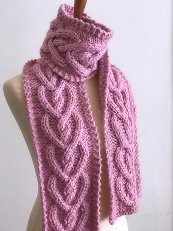 Photo of Heart Cable Knit Scarf Pattern