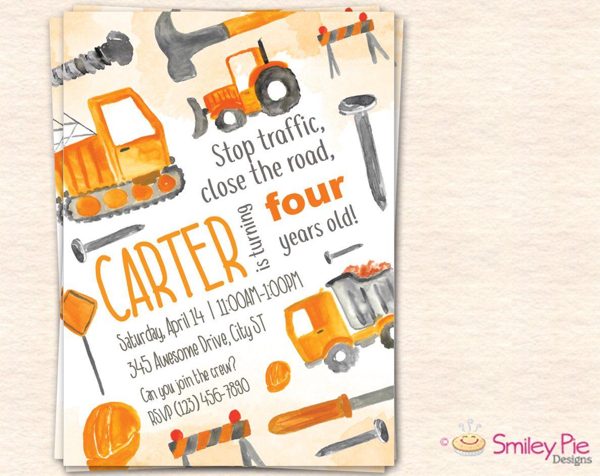 Construction Birthday Party Invitation - Printable File ...