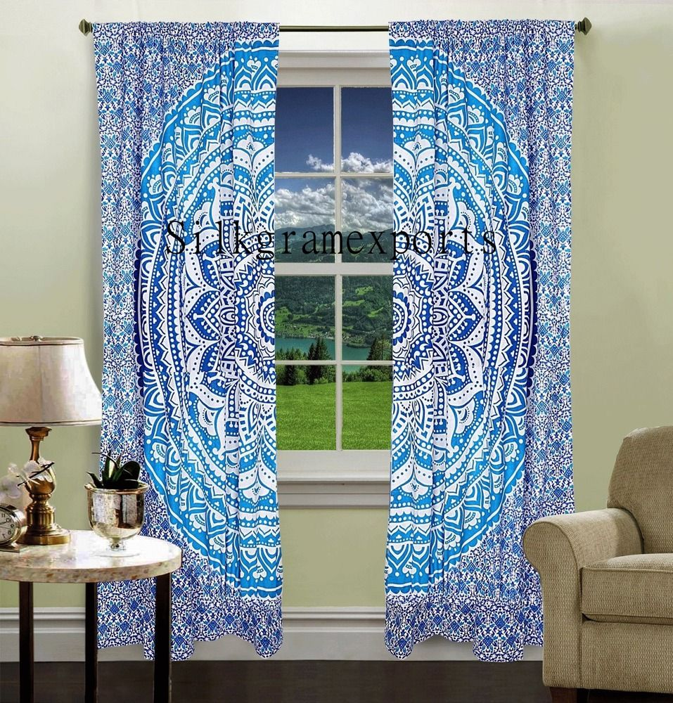 Blue moroccan curtains - Details About Indian Mandala Wall Tapestry Valance Door Window Curtain Blinds 2 Piece Set_2