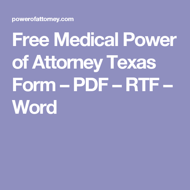 Free Medical Power Of Attorney Texas Form Pdf Rtf Word Power