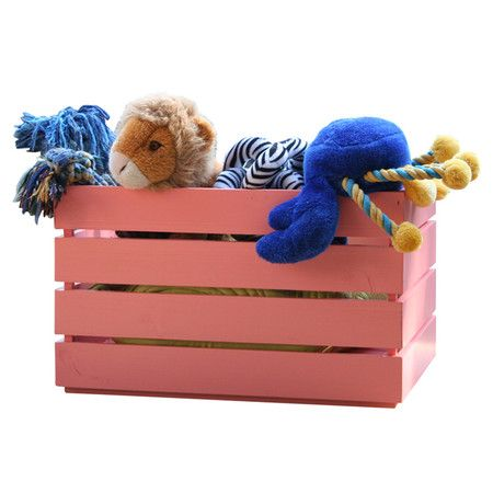 Cedar outdoor toy box in coral. Product: Toy boxConstruction ...