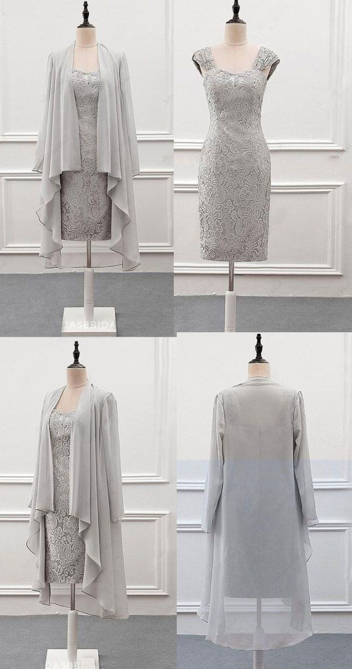 Mother of the groom dresses afternoon wedding  Light Gray Lace Mother of the Bride Dresses with Jackets  Clothing