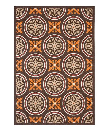 Brown Orange Circles Indoor Outdoor Rug Zulily Indoor Outdoor Rugs Indoor Outdoor Area Rugs Area Rugs