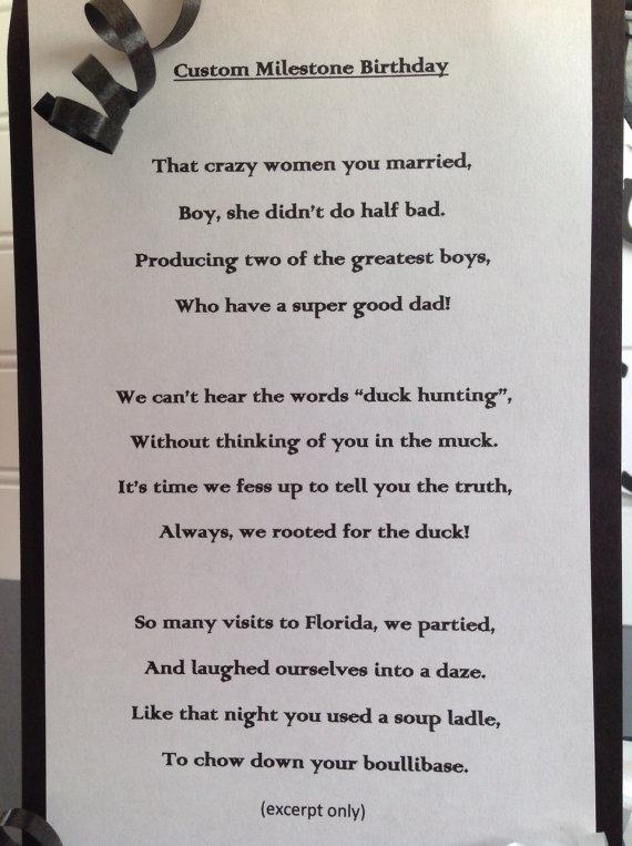 Milestone Birthday Tribute Poem Custom By WitandW
