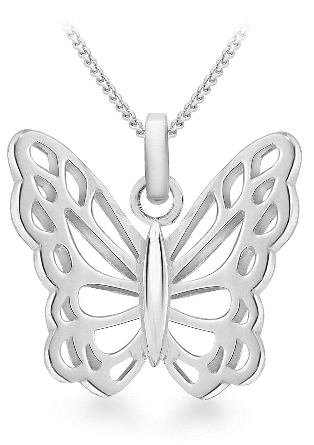 Tuscany Silver Sterling Silver MUM Butterfly Pendant on Curb Chain of 46cm/18 KrAxKPDgmg