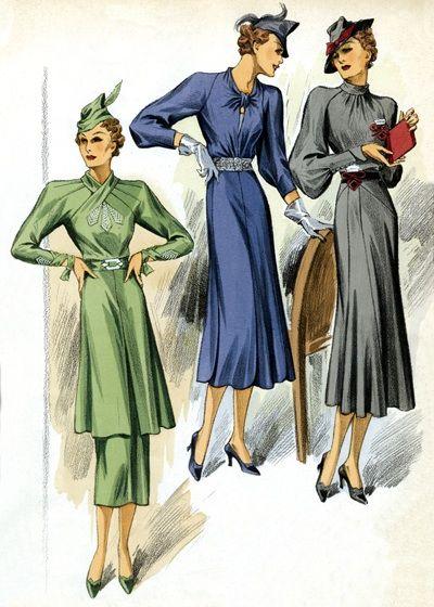 30s Fashion Three Dresses 1930s Fashion Fashion Greeting Cards 1930s Fashion 30s Fashion Fashion Art Prints