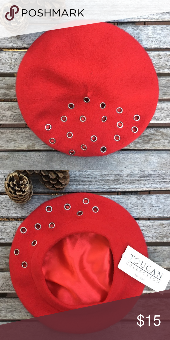 Little Red Beret This little hat is out of this world!! 100% Wool - Fully  Lined Small metal rivets on front of beret Never Worn Toucan Collection ... 11b99c36f8b