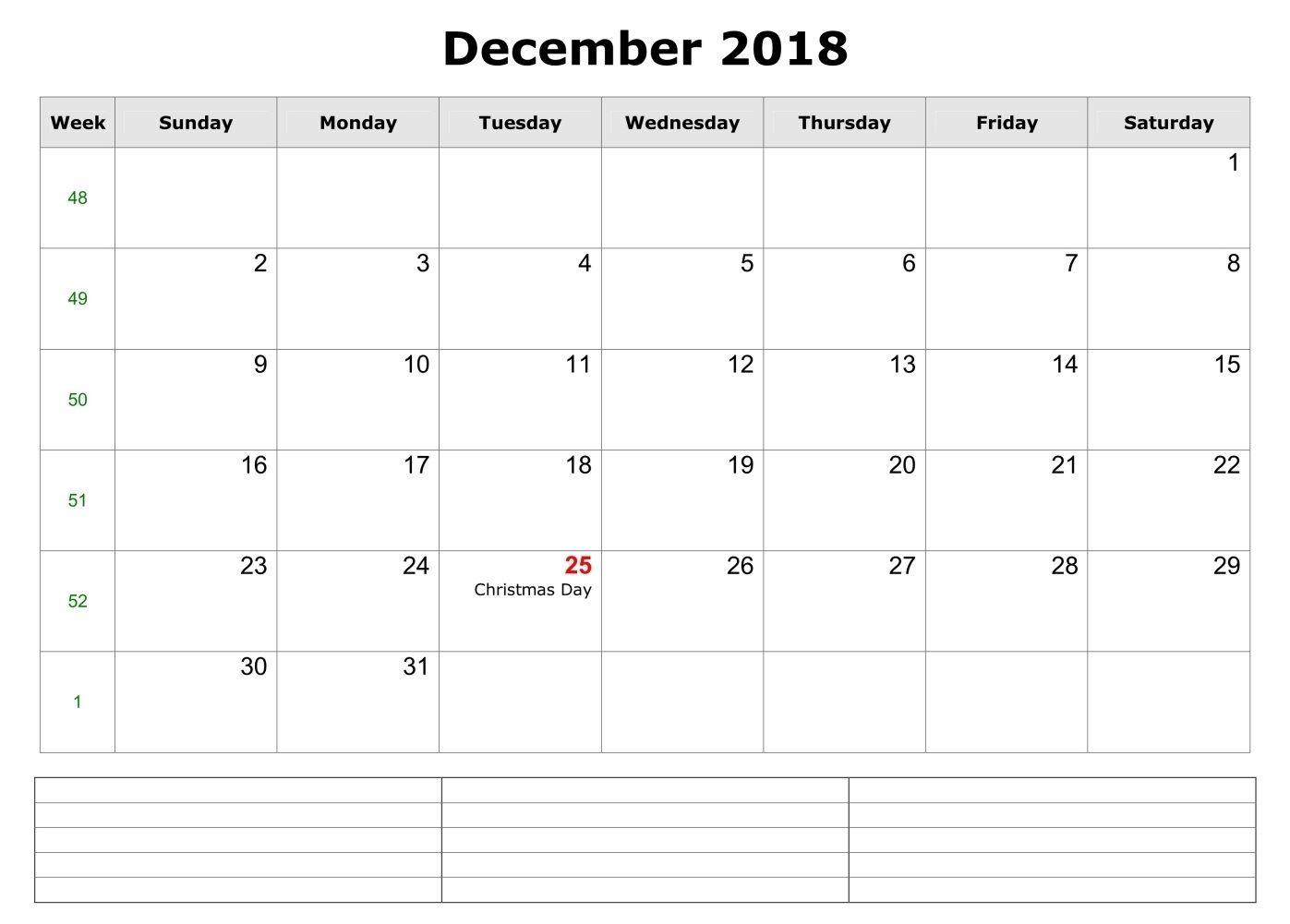 December 2018 Pdf Calendar With Notes 2018 Calendars Pinterest