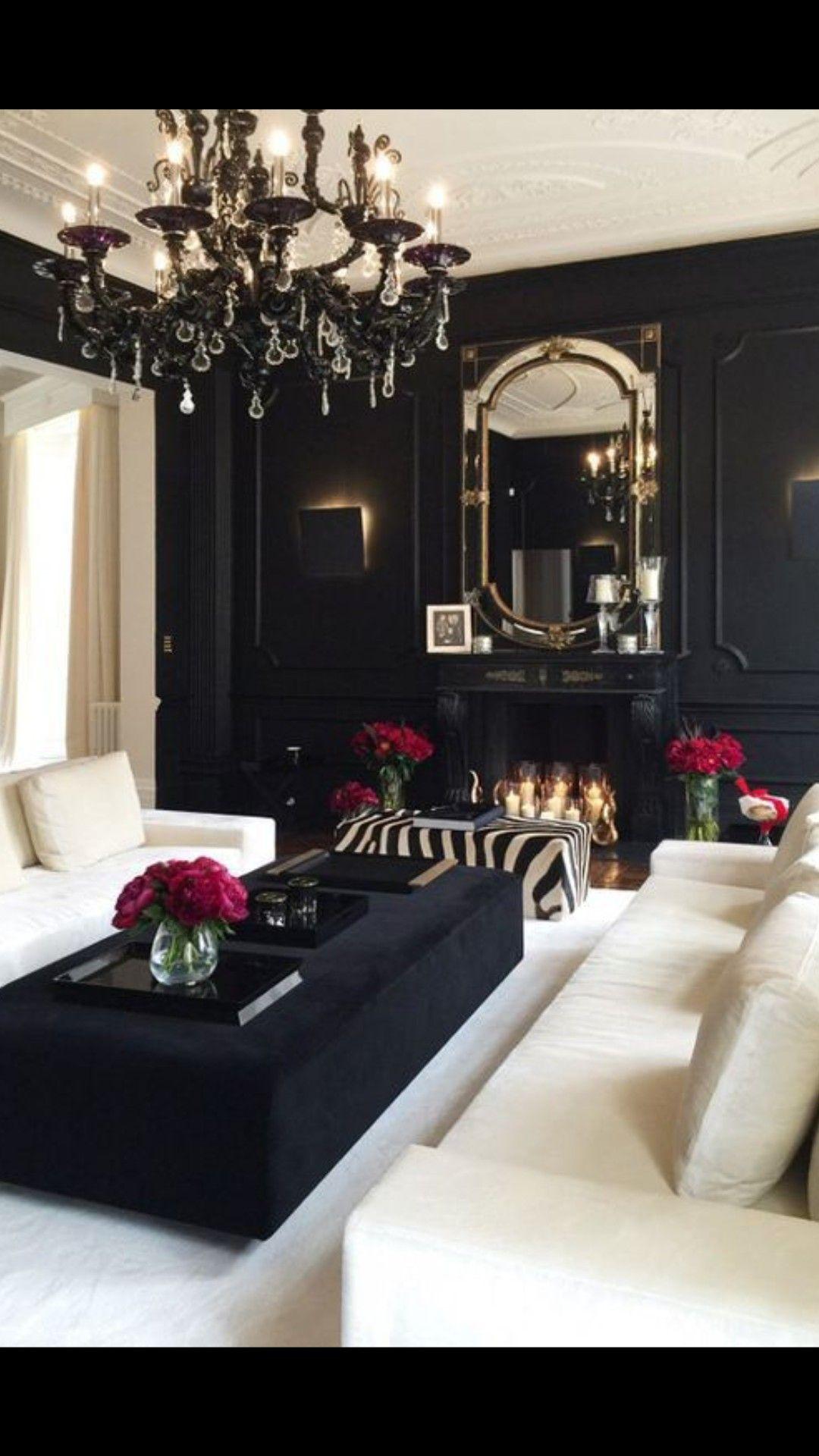 Salon Rouge Blanc Noir black & white | black, white living room, glam living room
