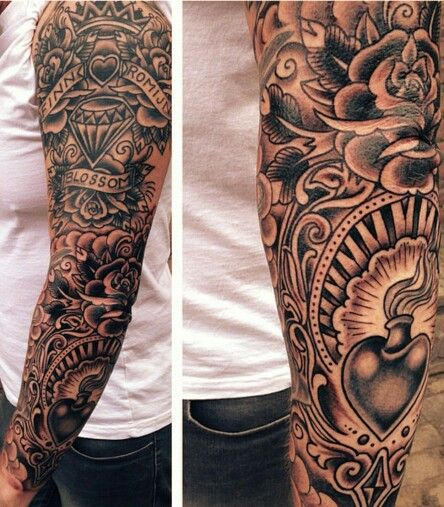 Traditional Black And Grey Sleeve Tattoo Sleeve Tattoos Tattoos For Guys Traditional Tattoo