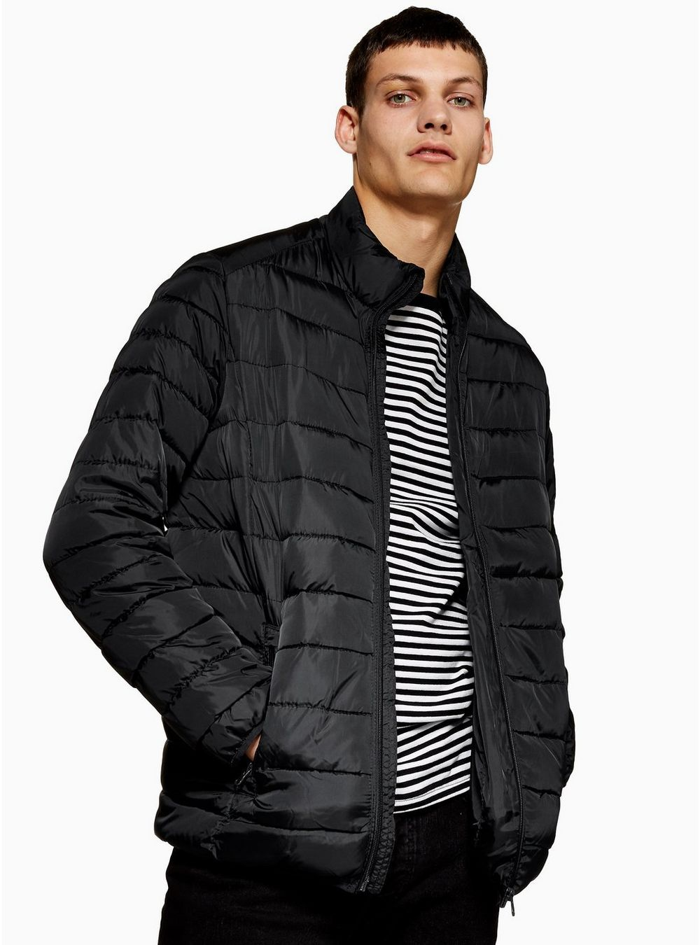 ONLY & SONS Navy Puffer Jacket Jackets, Leather jacket