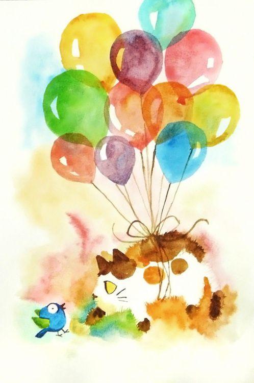 Watercolor Balloons Art Cat Art Watercolor Artwork