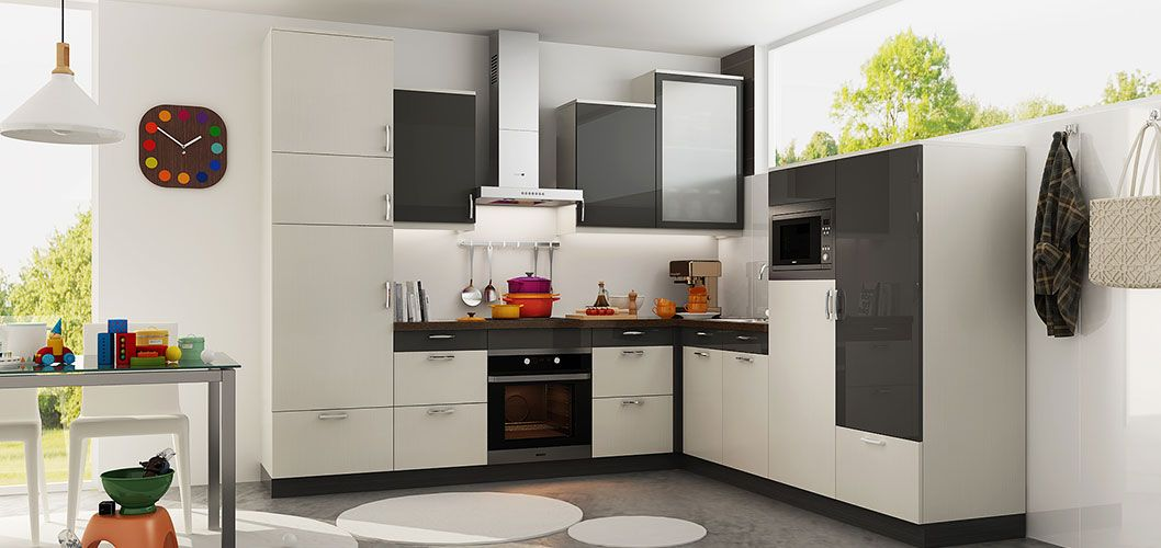 L Shaped White And Dark Grey Kitchen Cabinet Op18 Hpl02 2018