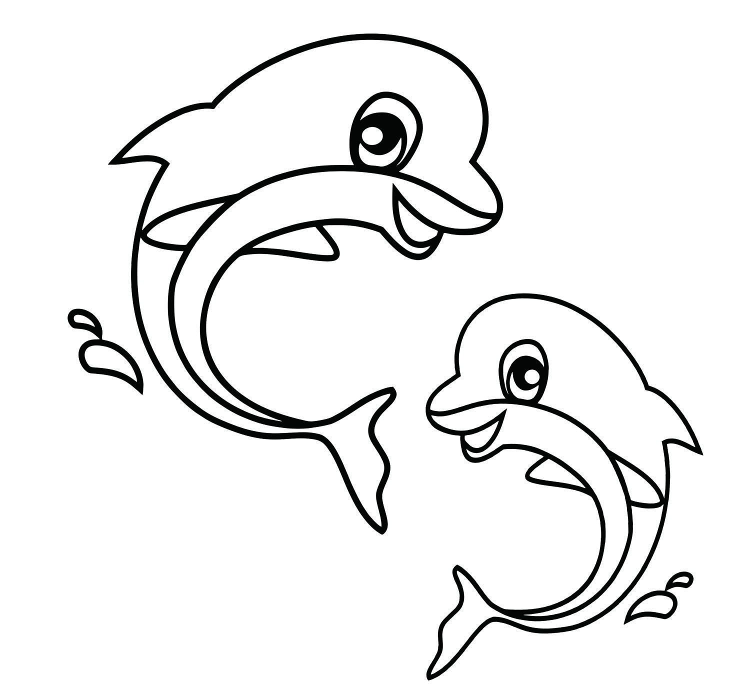 Easy Coloring Pages Dolphin coloring pages, Easy