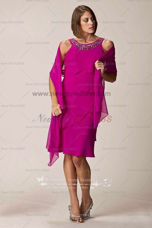 fushia Chiffon Multilayer mother of the bride dress with shawl cms ...