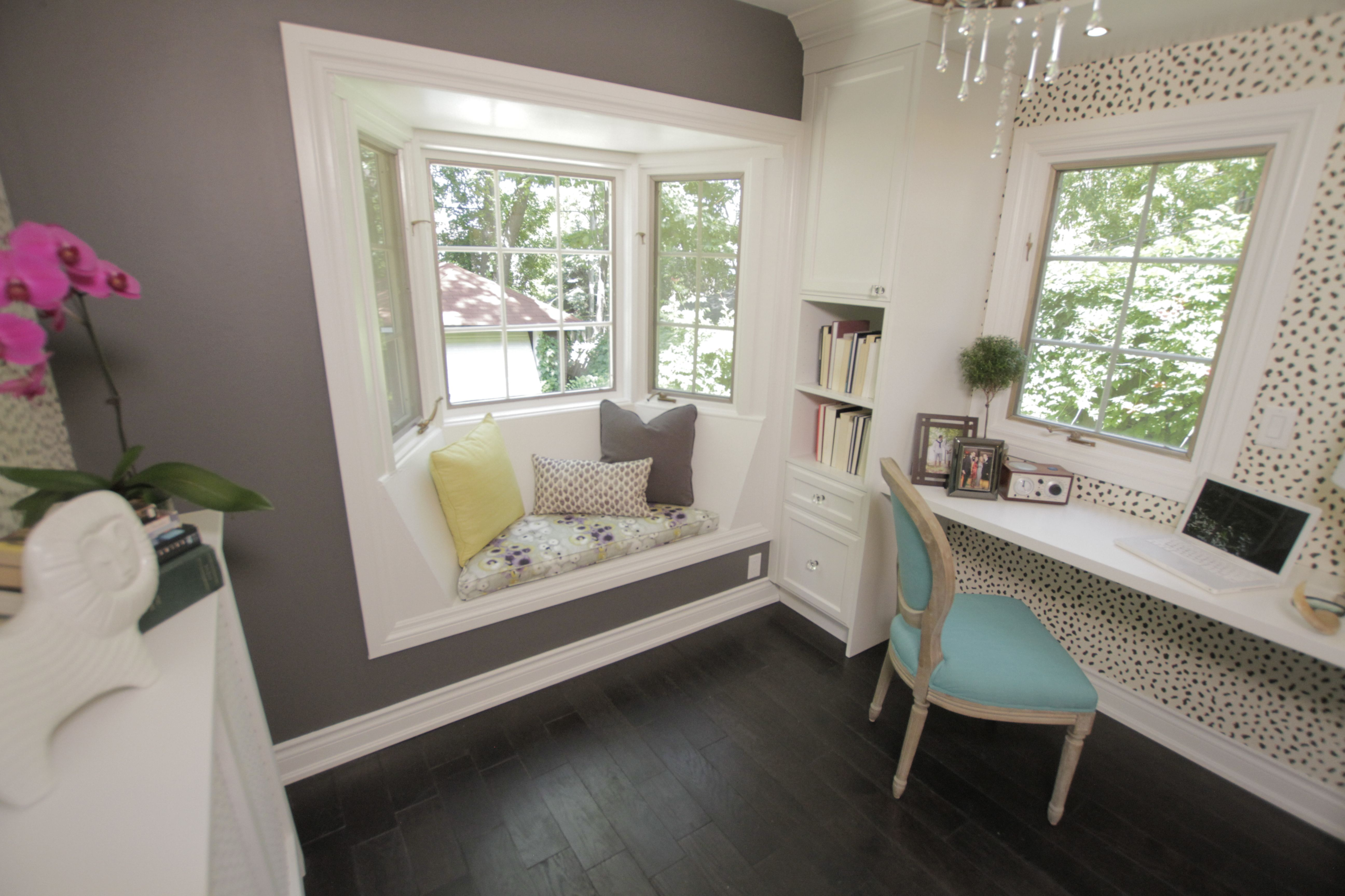 I like the window seat and that the desk is built right into the wall with a window to look out! Probably instead of a dresser, I would have some type of supply/file storage.