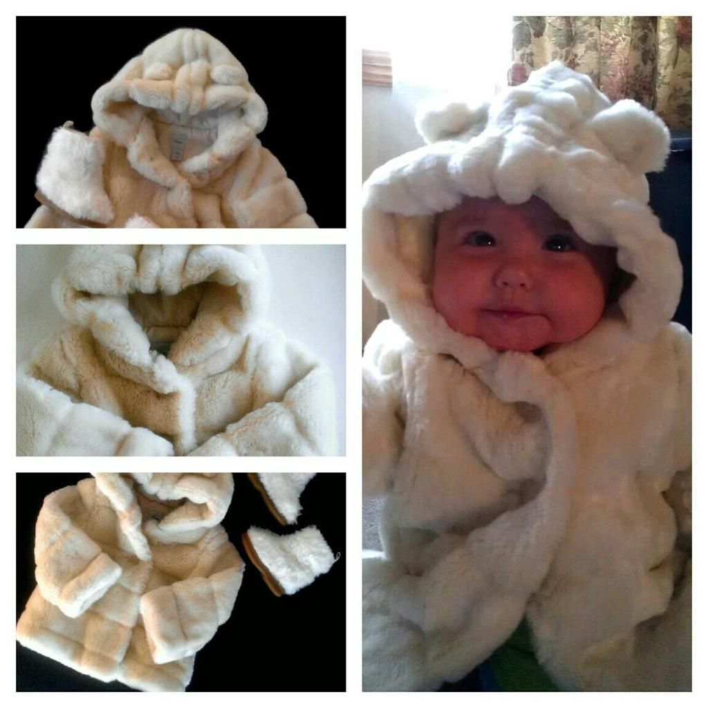 2011c0914a37 Gorgeous Baby Gap Girls Fur Coat 12 18 Months White Faux Hooded ...