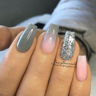 Stone Grey Ombre Soft Pink And Glitter On Coffin Nails Nail Artist Tracylousnails Follow Her Pink Ombre Nails Soft Pink Nails Pink Grey Nails