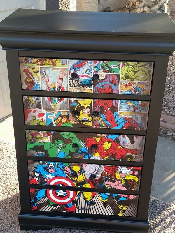 Avengers themed tall dresser!   for Sale in Phoenix, AZ  OfferUp is part of Superhero room - Used (normal wear), Avengers themed tall dresser! Amazing piece of furniture! One of a kind piece! Great conversational piece!   Make an offer!
