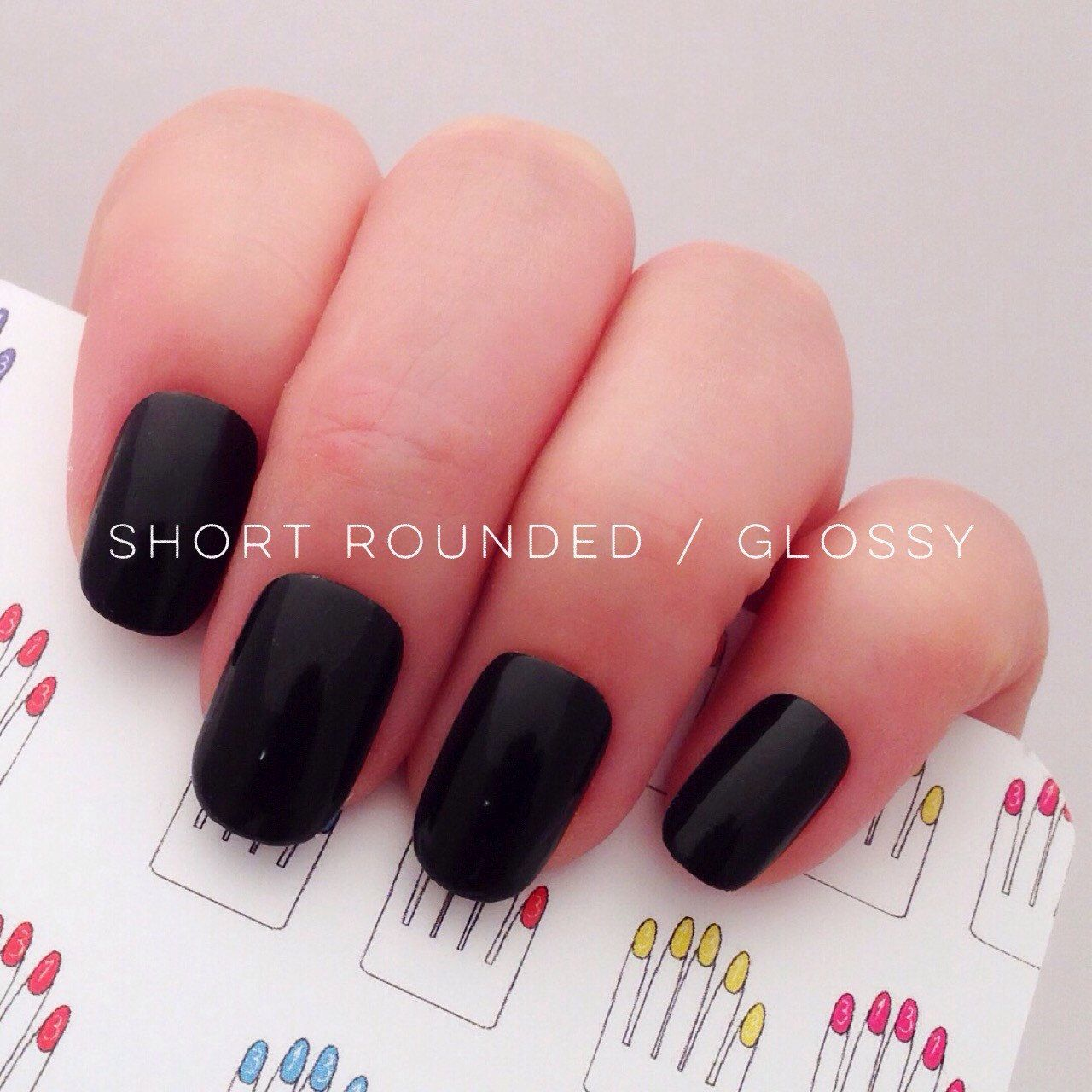 Black Hand Painted Short Nail Tips / Press On / Stick On / Fake ...