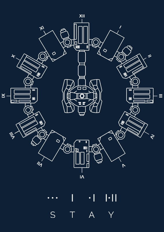 Communicate with beings from another dimension with this minimal design showcasing the legendary Endurance space craft and the famous watch that saved mankind! Hit the buy button, this is no time for caution. This artwork is featured in white on a Navy Blue 100% cotton Redwolf branded tee. Endurance - Stay is now available on t-shirts and accessories on Redwolf.in