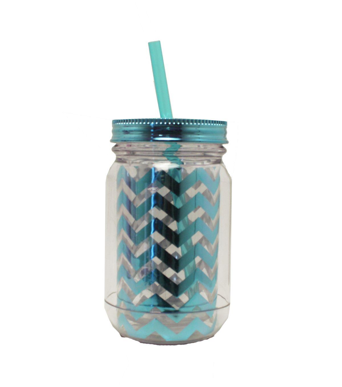 Beverage Mason Jar With Handle And Straw Teal Chevron Metallic ...