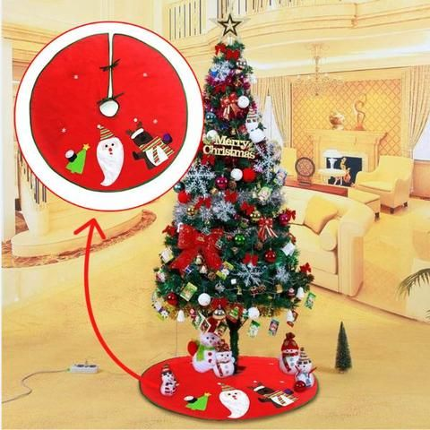 70 100cm Red Christmas Tree Skirt Embroidered Non Woven Xmas Trees Ornaments Decorations For Home